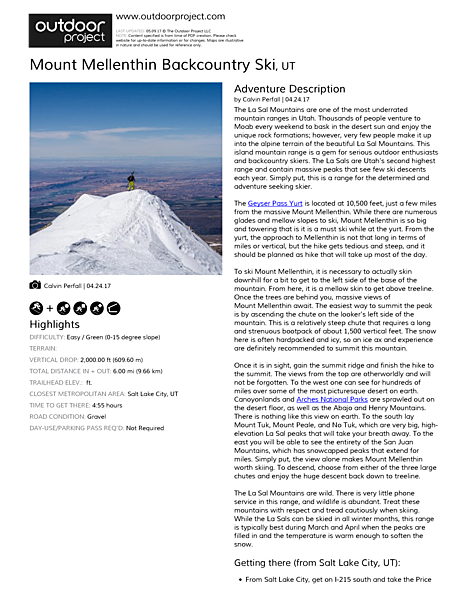 Mount Mellenthin Backcountry Ski Field Guide