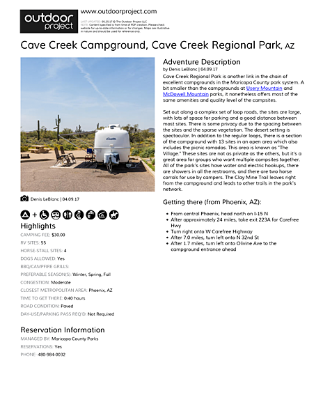 Cave Creek Campground Field Guide