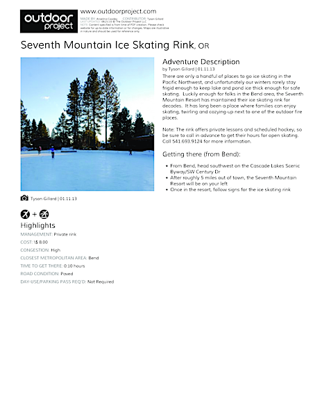 Seventh Mountain Ice Skating Rink Field Guide