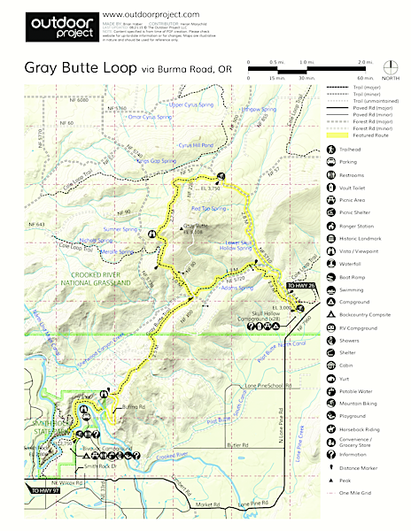 Gray Butte Loop via Burma Road Map