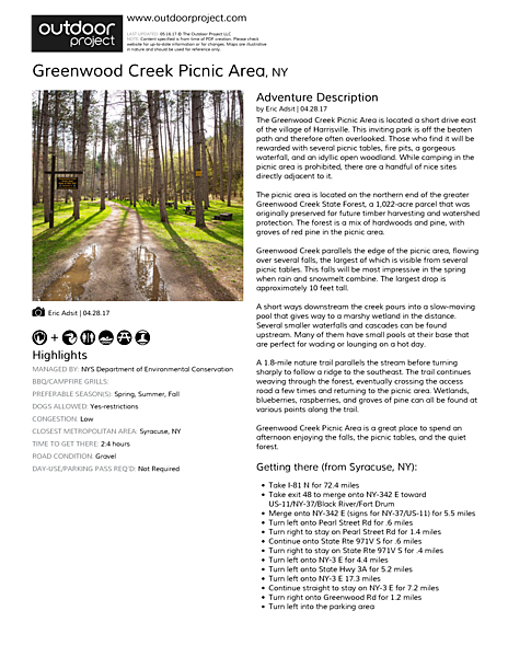 Greenwood Creek Picnic Area Field Guide