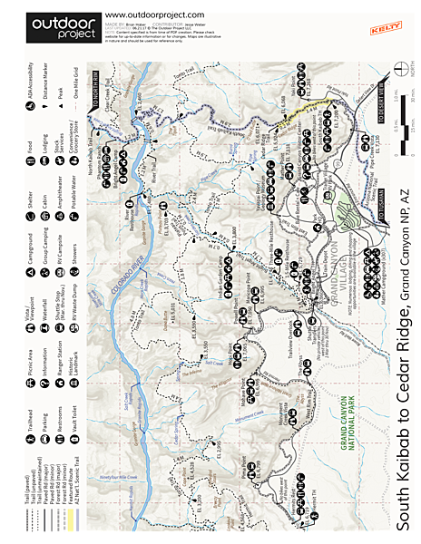 South Kaibab Trail Day Hike Trail Map