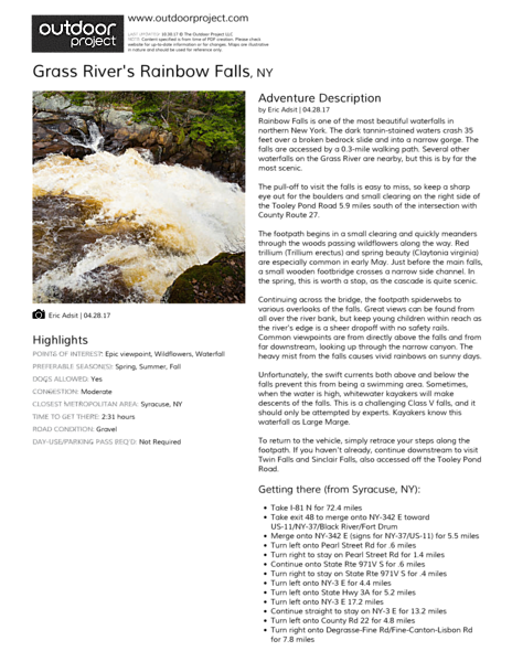 Grass River's Rainbow Falls Field Guide