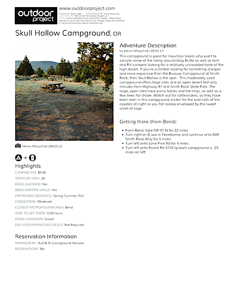 Skull Hollow Campground Field Guide