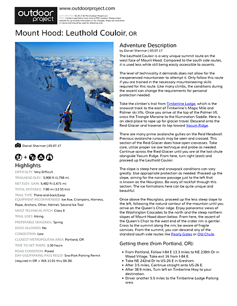 Mount Hood: Leuthold Couloir Field Guide