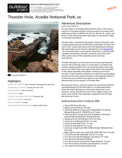 Thunder Hole Field Guide