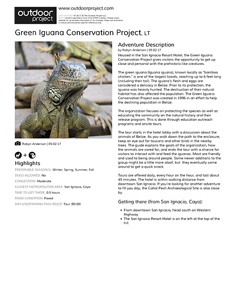 Green Iguana Conservation Project Field Guide