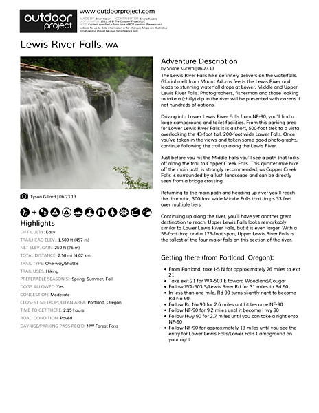 Lewis River Falls Field Guide