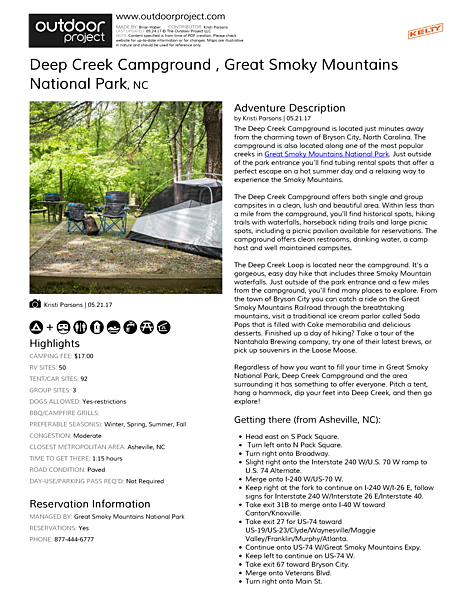 Deep Creek Campground  Field Guide