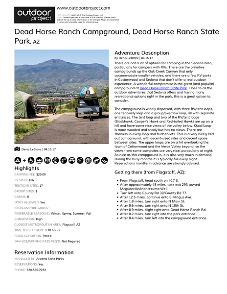 Dead Horse Ranch Campground Field Guide