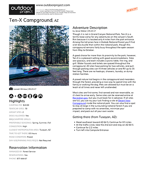 Ten-X Campground Field Guide