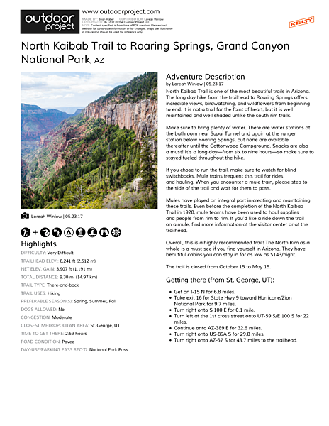 North Kaibab Trail to Roaring Springs Field Guide