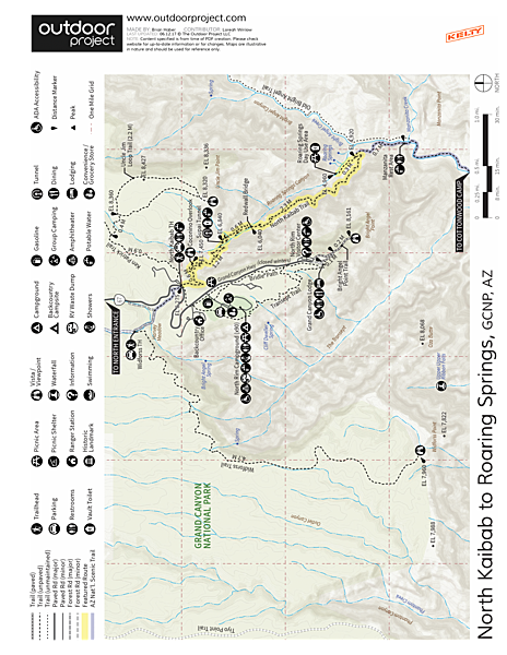 North Kaibab Trail to Roaring Springs Trail Map