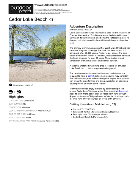 Cedar Lake Beach Field Guide