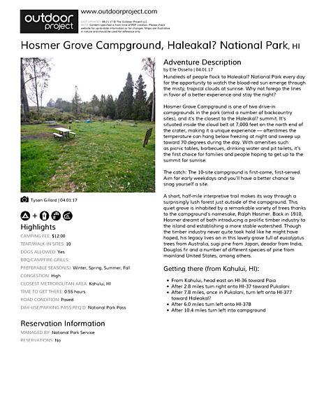 Hosmer Grove Campground Field Guide