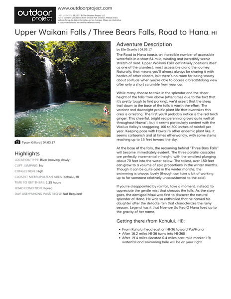 Upper Waikani Falls / Three Bears Falls Field Guide