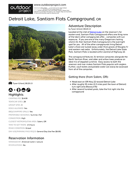 Detroit Lake, Santiam Flats Campground Field Guide