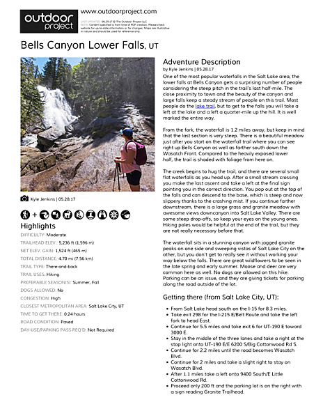 Bells Canyon Lower Falls Field Guide