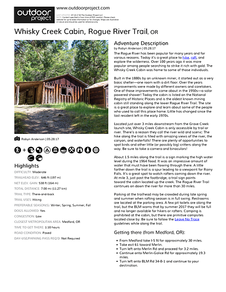 Whisky Creek Cabin Outdoor Project