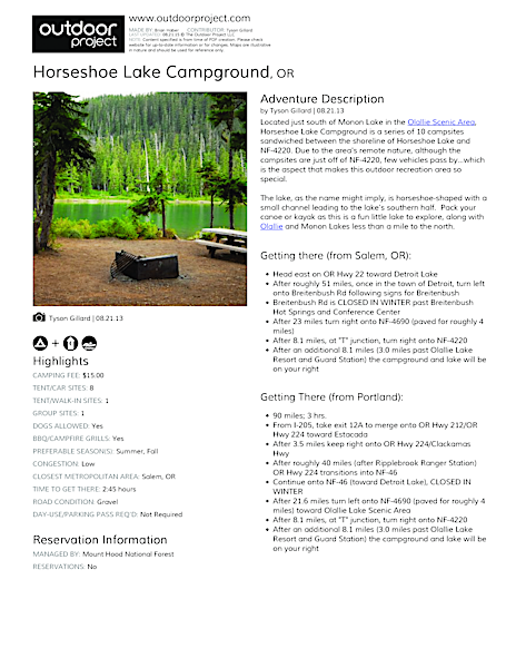 Horseshoe Lake Campground Field Guide