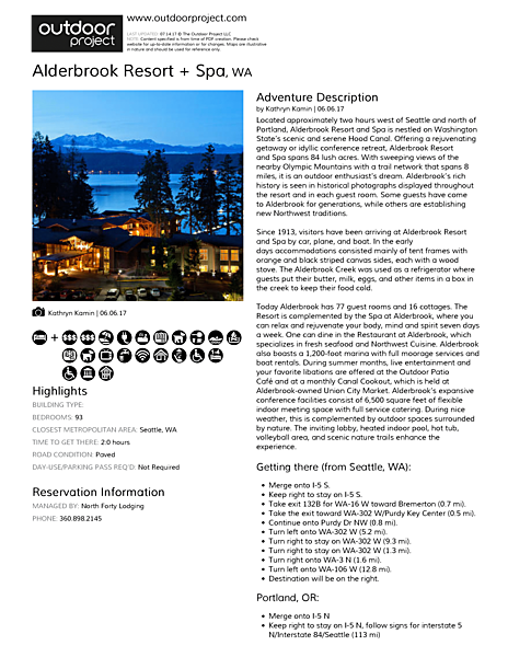 Alderbrook Resort + Spa Field Guide