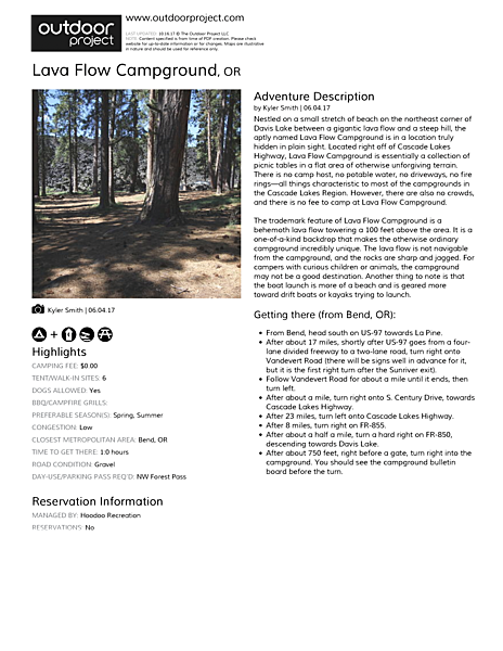Lava Flow Campground Field Guide