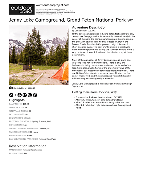 Jenny Lake Campground Field Guide