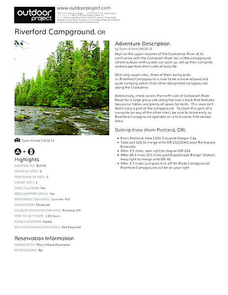 Riverford Campground Field Guide