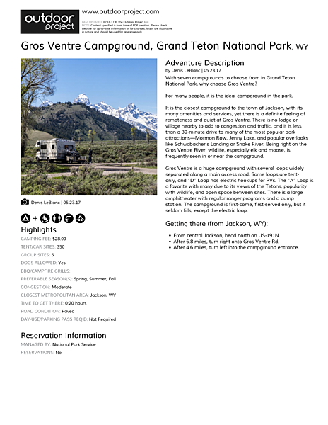 Gros Ventre Campground Field Guide