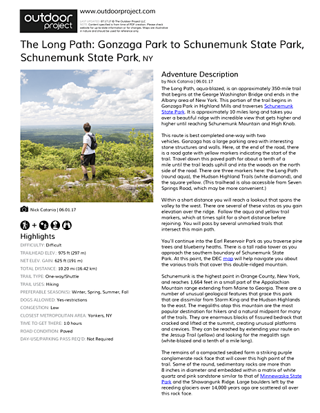 The Long Path: Gonzaga Park to Schunemunk State Park Field Guide