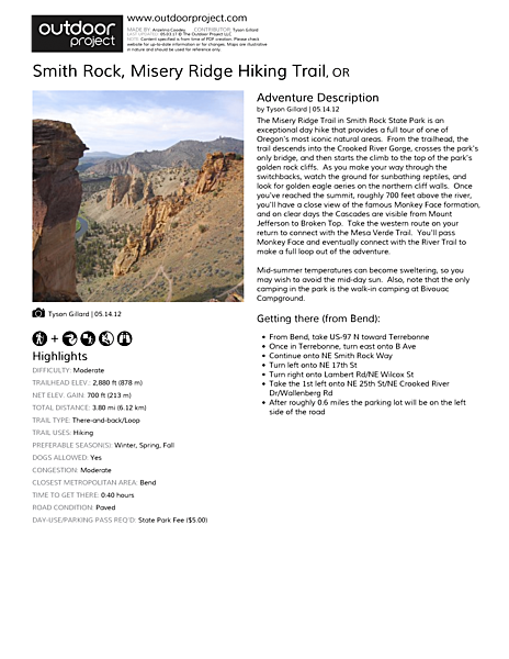 Smith Rock, Misery Ridge Hiking Trail Field Guide