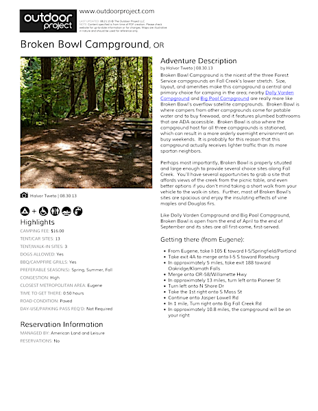 Broken Bowl Campground Field Guide