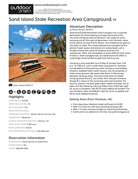 Sand Island State Recreation Area Campground Field Guide