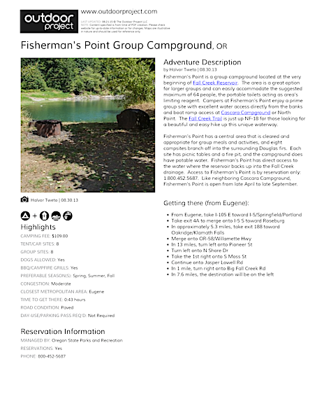 Fisherman's Point Group Campground Field Guide