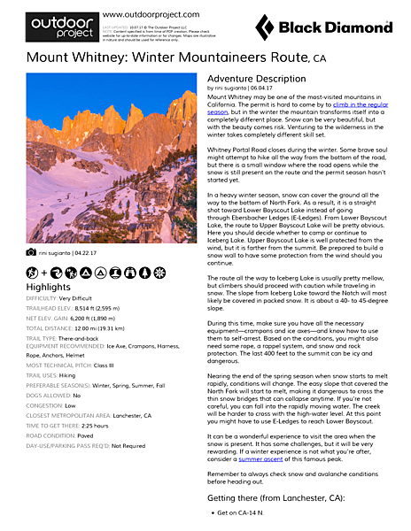 Mount Whitney: Winter Mountaineers Route Field Guide