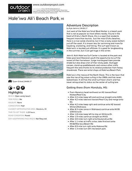 Hale'iwa Ali'i Beach Park Field Guide