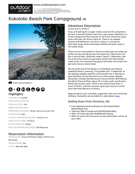 Kokololio Beach Park Campground Field Guide