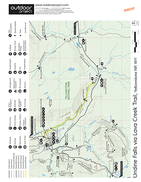 Undine Falls Via Lava Creek Trailhead Trail Map