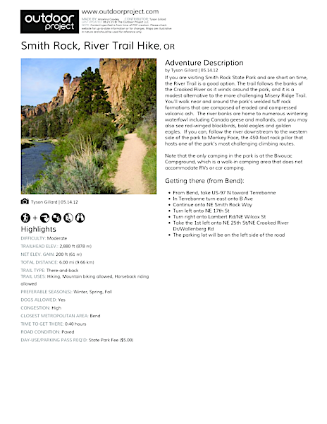 Smith Rock, River Trail Hike Field Guide