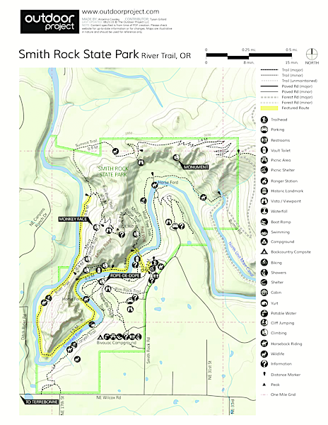 Smith Rock, River Trail Hike Trail Map