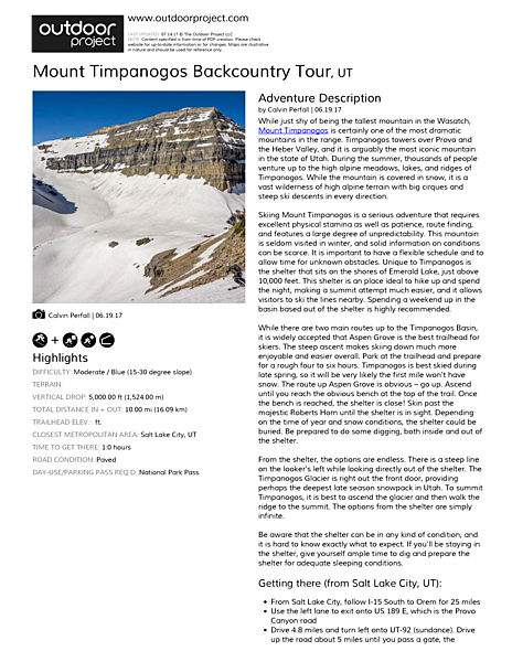 Mount Timpanogos Backcountry Tour Field Guide