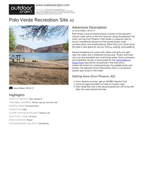 Palo Verde Recreation Site Field Guide