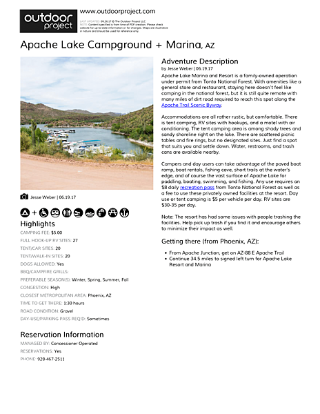 Apache Lake Campground + Marina Field Guide