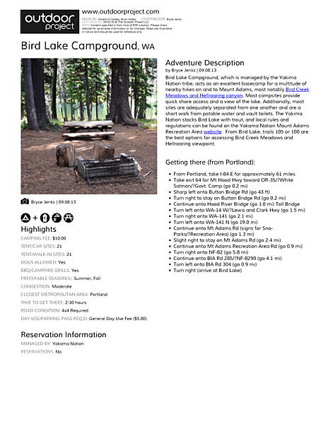Bird Lake Campground Field Guide