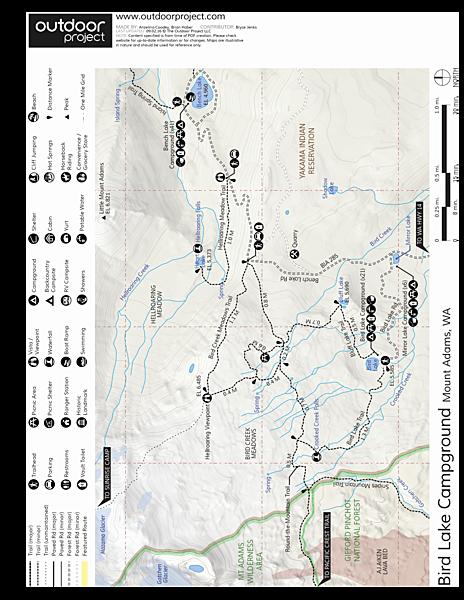 Mt Adams Washington Map.Bird Lake Campground Outdoor Project