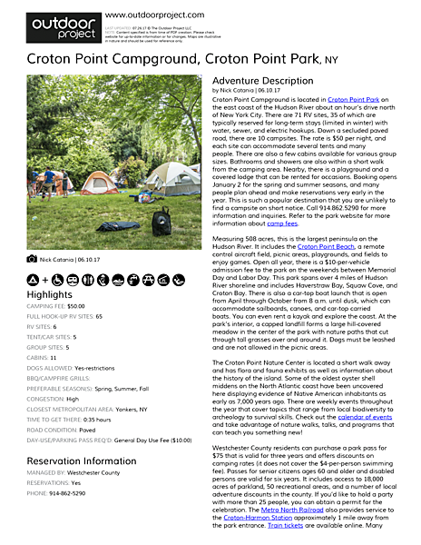Croton Point Campground Field Guide