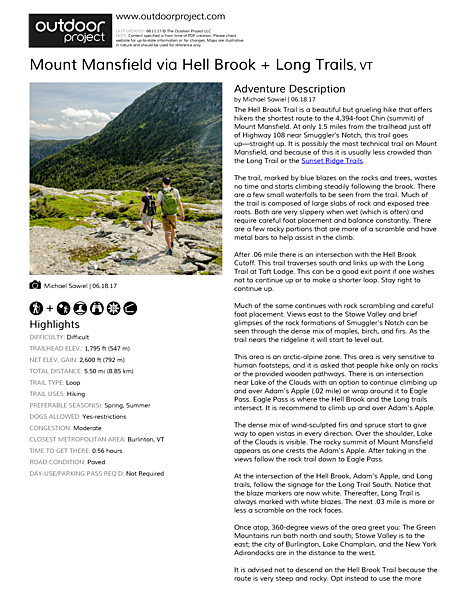 Mount Mansfield via Hell Brook + Long Trails Field Guide