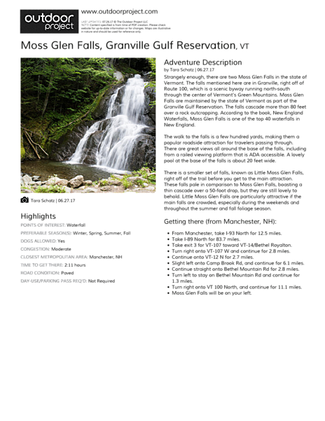 Moss Glen Falls Field Guide