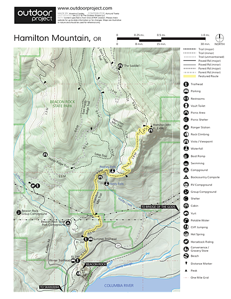 Hamilton Mountain Hike Trail Map