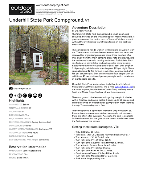 Underhill State Park Campground Field Guide